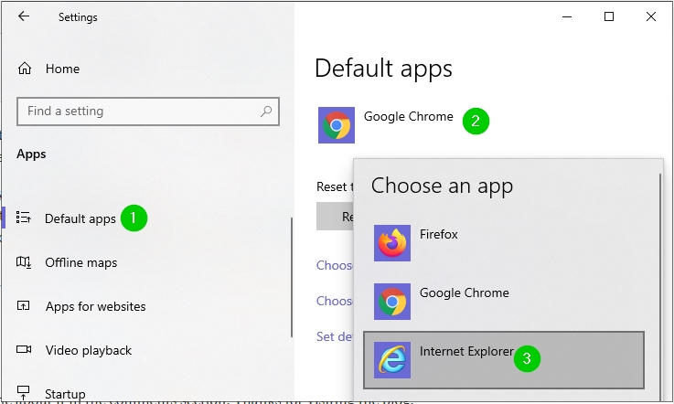 set internet explorer as default