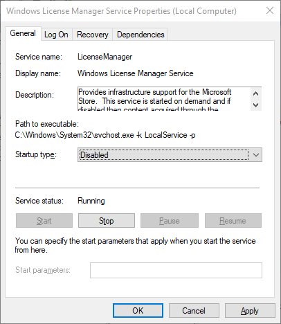 windows license manager service disabled