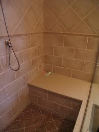 brown shower seat useful as shelf