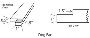 diagram of window sill dog ears