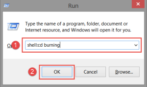 Run: Command Fix: You have files waiting to be burned to disc burned to disc