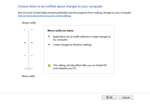 UAC Settings FIX: This app can't be activated when UAC is disabled uac
