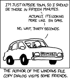 "They could say ""the connection is probably lost,"" but it's more fun to do naive time-averaging to give you hope that if you wait around for 1,163 hours, it will finally finish. Weekly Comic: The Windows loading bar loading"