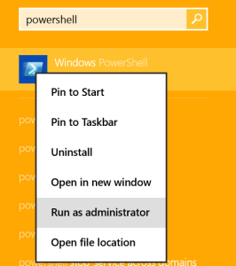 Run PowerShell as Administrator FIX: Change PC Settings button is not working in Windows 8.1 pc settings