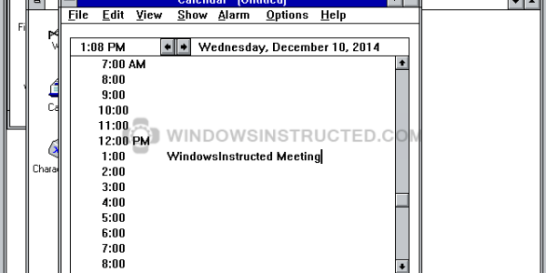 Windows 3.1 Calendar