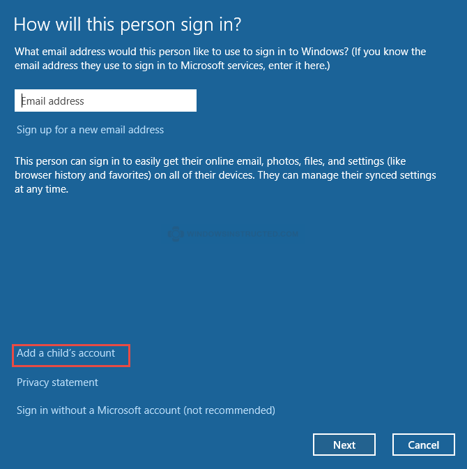 Windows 10: Add a Child's Account How to Add an Account in Windows 10 Add an Account