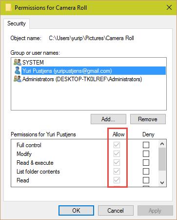Allow full Control How to FIX Windows Camera App Error 0xA00F424F 0xA00F424F
