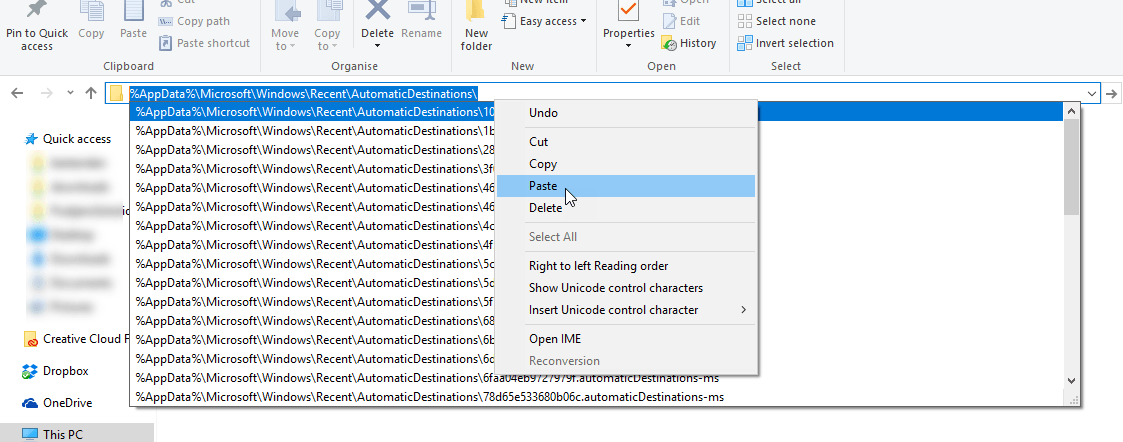 Unable to unpin a folder from Quick access in Windows 10. Unable to unpin a folder from Quick access in Windows 10.