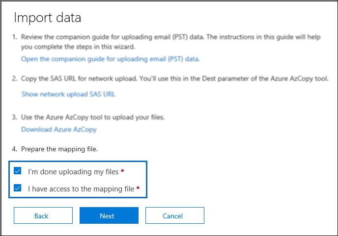 Import Data Import PST to Office 365 by Network Upload & O365 Import Service