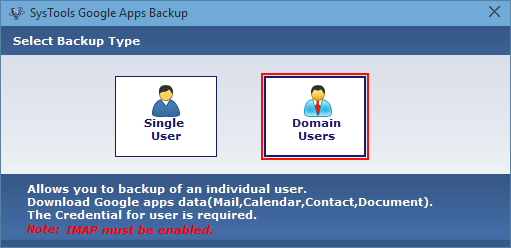 Single and Domain user access Google Apps Backup Tool - Total Safeguard for Your G Suite Email & Data
