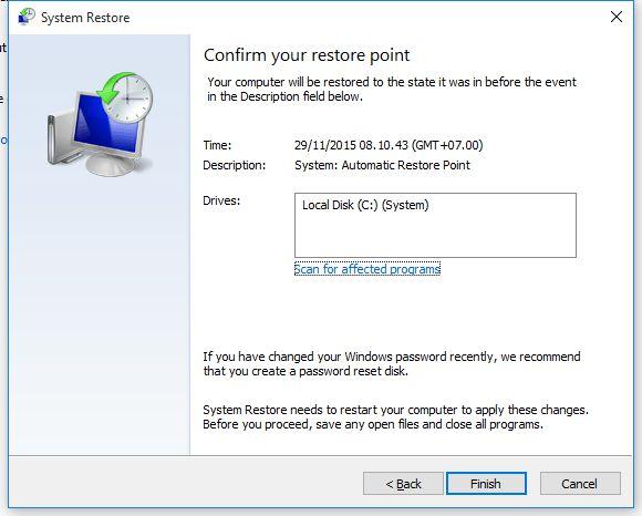 Informasi Mengenai System Restore
