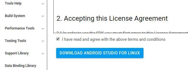 Menyetujui Eula Android Studio
