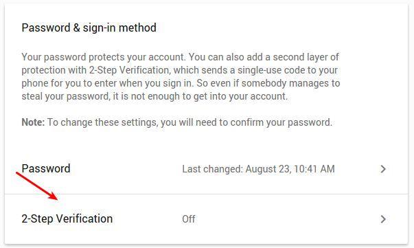 Mengakses 2-Step Verification di Google