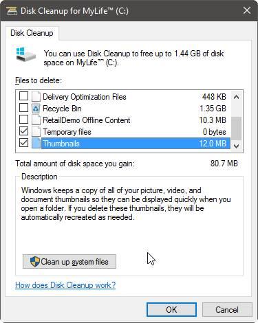 Disk Cleanup Untuk Thumbnail Cache