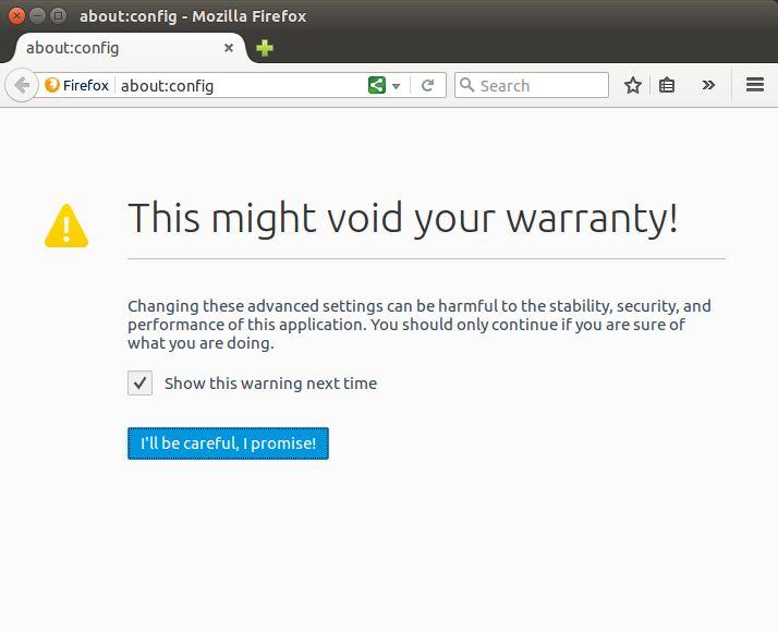 Cara mengakses menu Config di Firefox