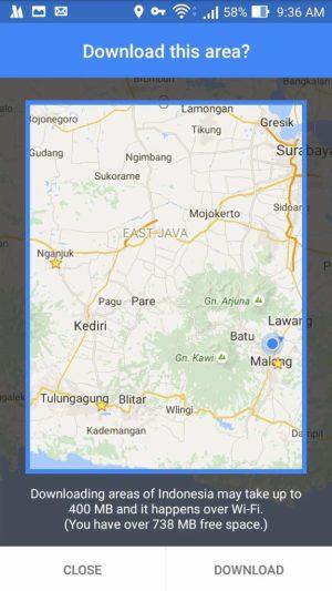 Menyimpan Offline Area Di Google Maps