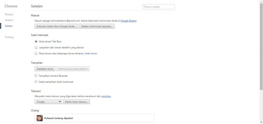 Settings Di Google Chrome