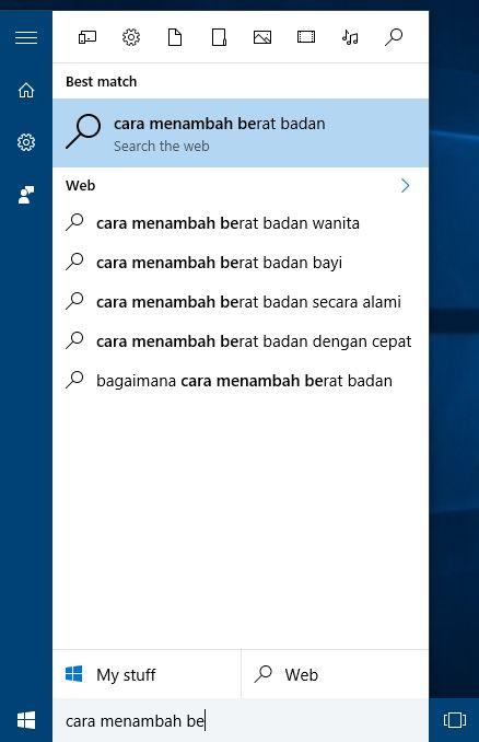 Melakukan Pencarian Web Di Start Menu Windows 10