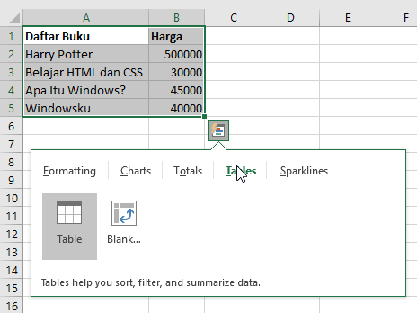 Membuat Tabel Di Excel