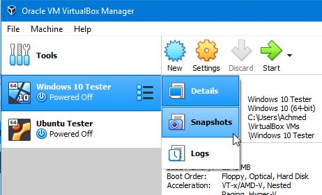 Tombol Snapshot Virtualbox