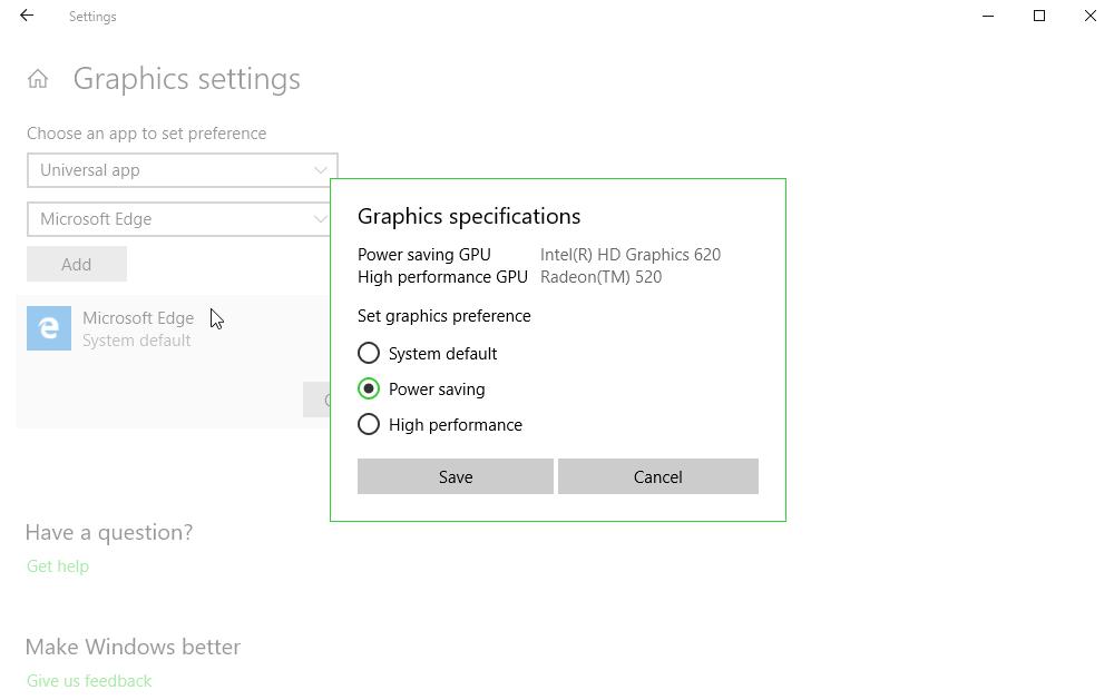 Graphics Settings Windows 10 April 2018 Update