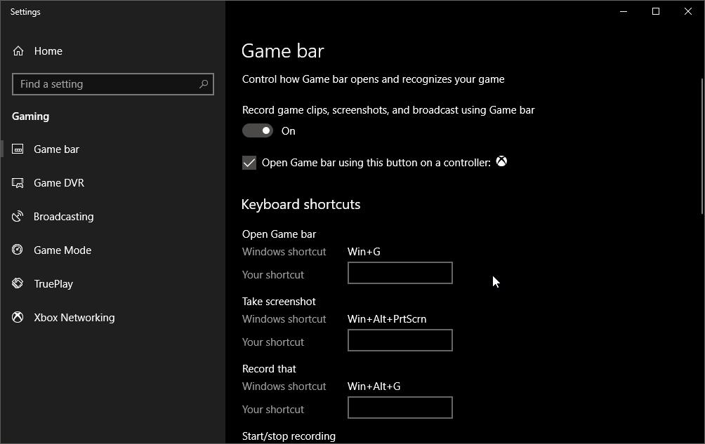 Settings Game Bar Windows 10