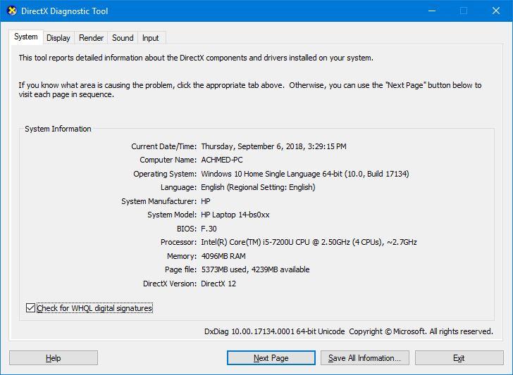 Informasi Directx Windows 10