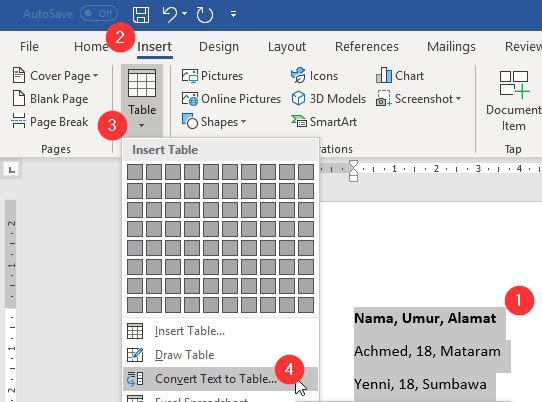 Konversi Teks Ke Tabel Microsoft Word