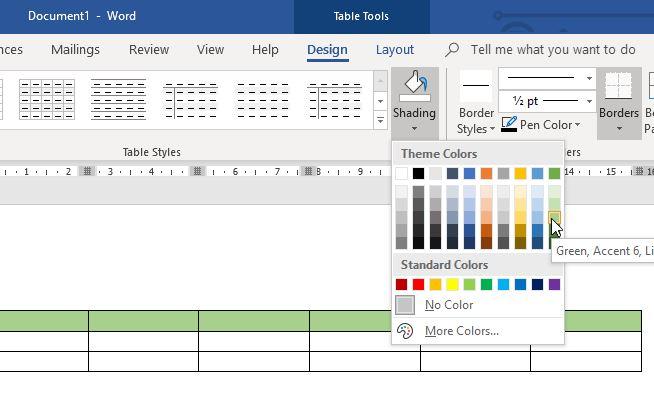 Memberikan Warna Baris Tabel Microsoft Word