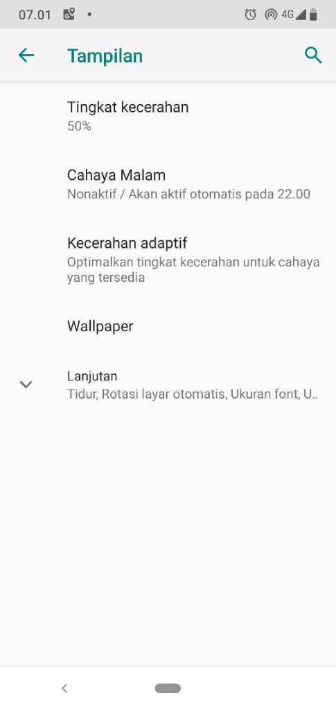 Menu Tampilan Setelan Kecerahan Adaptif Android