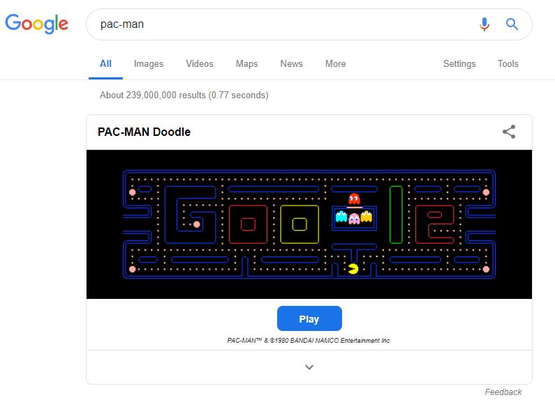 Google Games Pac Man