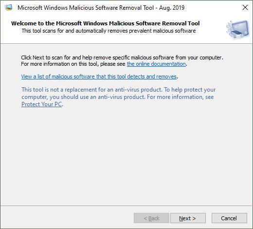 Microsoft Windows Malicious Software Removal Tool Aug 2019