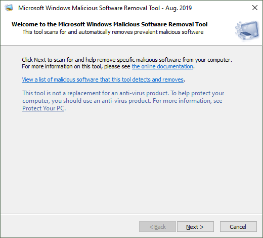 Microsoft Windows Malicious Software Removal Tool Aug 2019