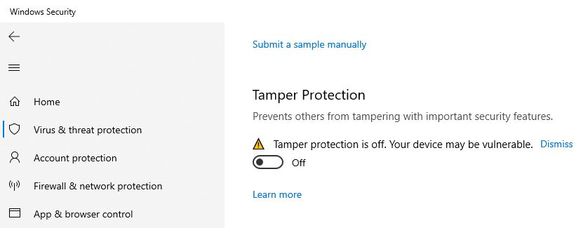 Tamper Protection Windows Security 1