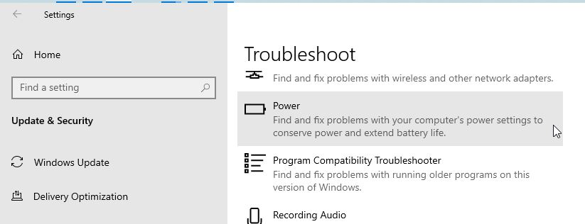 Power Troubleshooter Windows 10