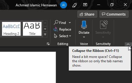 Tombol Menyembunyikan Ribbon Word