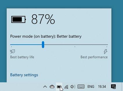 Windows Performance Power Slider