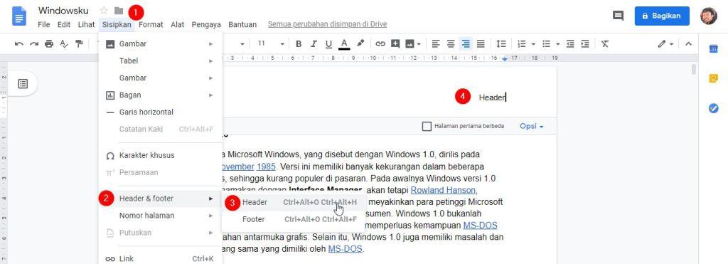 Menggunakan Header Footer Google Docs