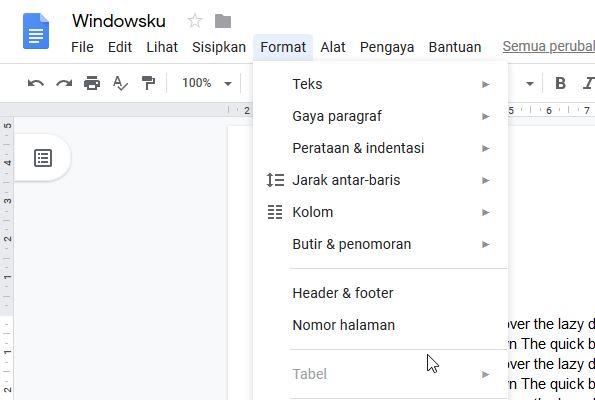 Menu Format Google Docs
