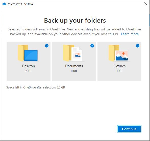 Memilih Folder Yang Akan Di Backup Onedrive Windows