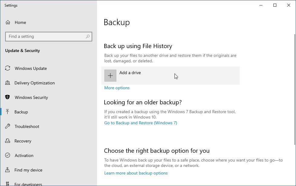 Backup File History Windows