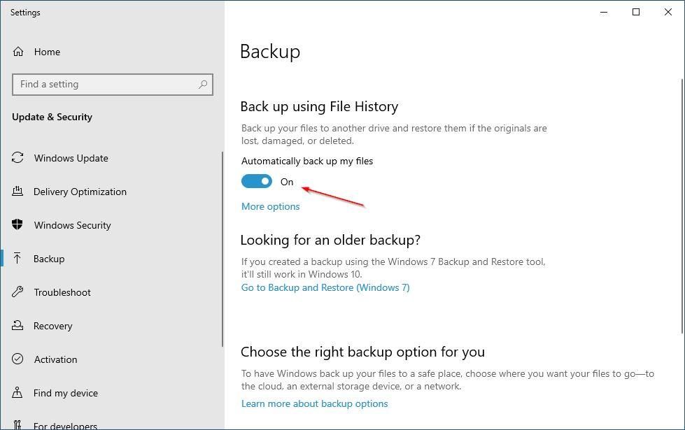 Status File History On Windows