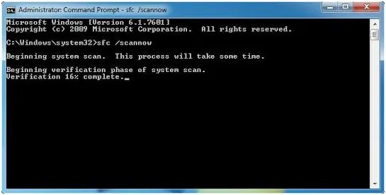 , type the command sfc/scannow
