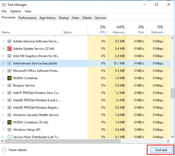 task manager NVIDIA