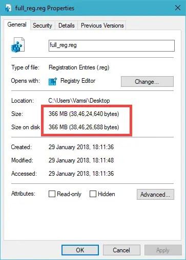 Backed up registry file size, 366MB