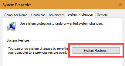 Click on the System Restore button