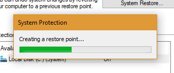 Windows is creating system restore point