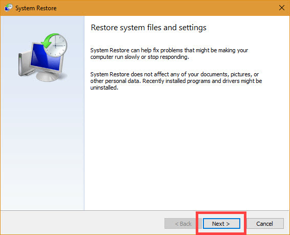 Within Windows, click Next in System Restore window