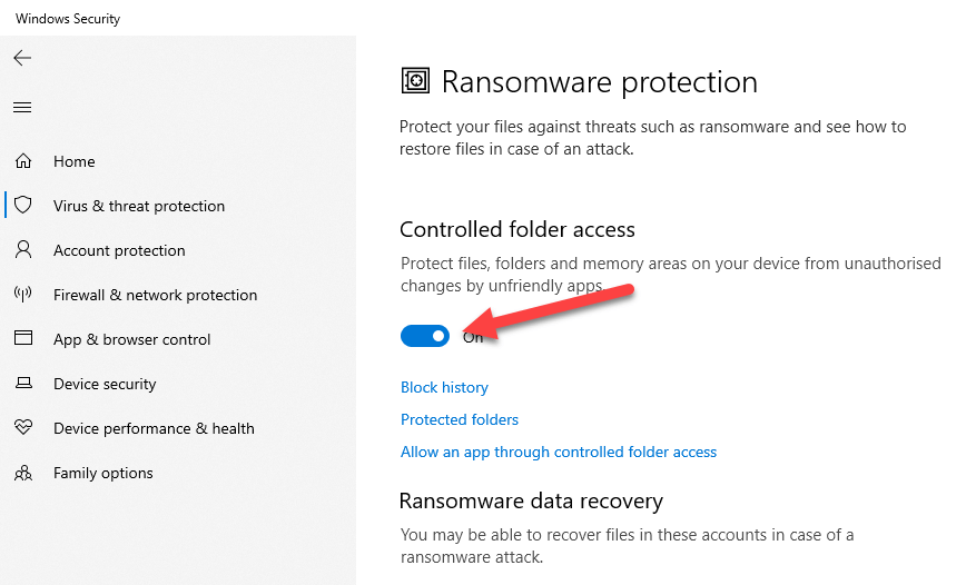 Windows 10 ransomware protection - enable controlled folder access