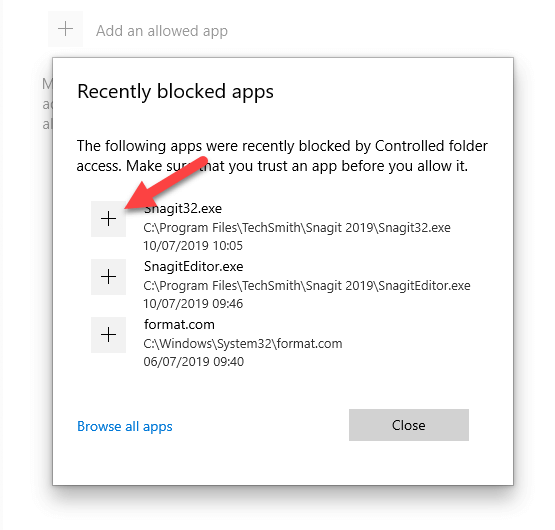 Windows 10 ransomware protection - select app from recent list